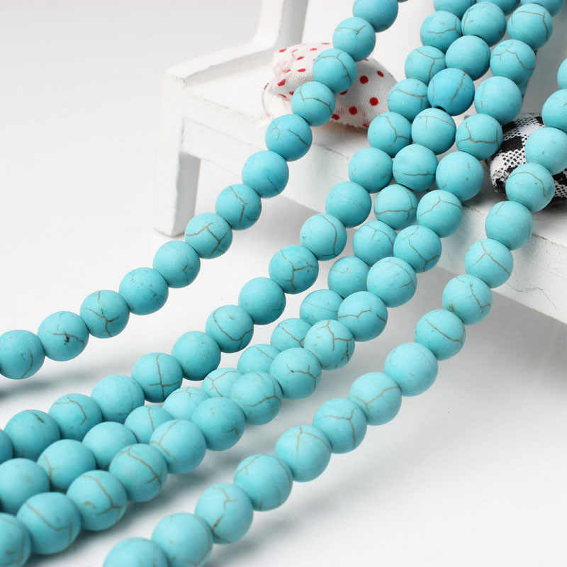 LanLi  kallaite Stones 4-12mm Bracelet Necklace Making Blue Frosted Matte Round Loose Beads Suitable For DIY Jewelry
