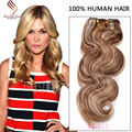 2016 Hot Clip In Hair Extension Brazilian Body wave Clip Ins Hair Extension Piano 8/613 Remy Clip In Hair Extension 100-220g/set