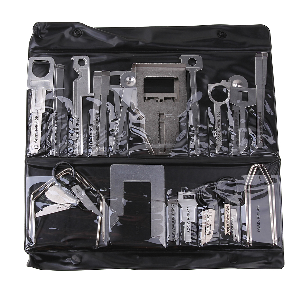 38Pcs/Set  Vehicle Car Stereo Radio Release Removal Tools Key Kit with Bag for Benz Sony Ford Audi B119 Panasonic Kenwood