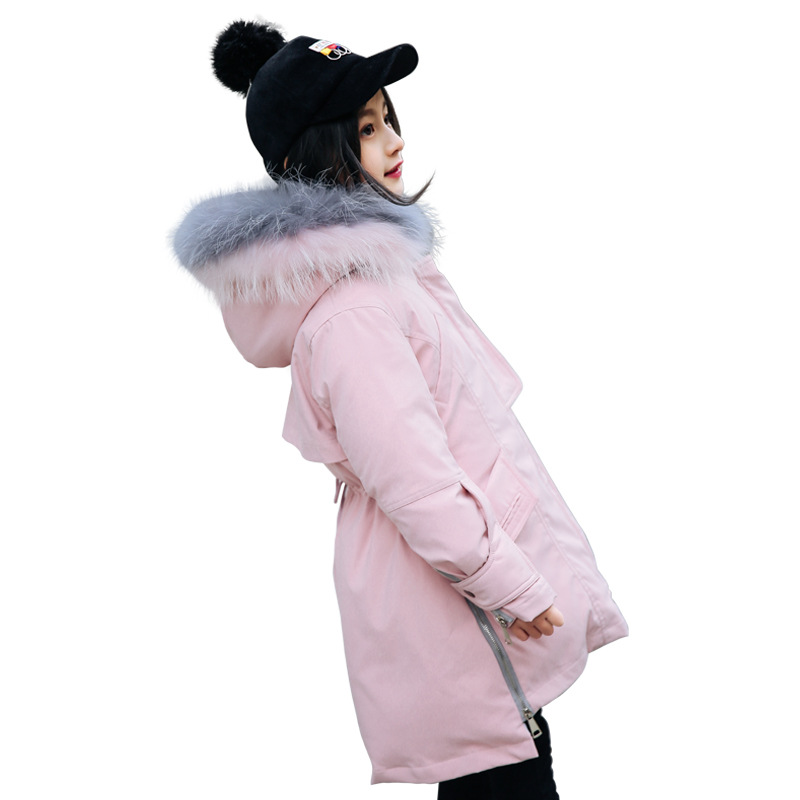 Girl Thicken Fur Collar Down Parkas Winter Warm Hooded Jacket For Boys Children Long Duck Down Snowsuits Outerwear AA51886 winter jacket women 2017 mid long thicken warm cotton padded down parkas coat faux fur collar hooded jacket for girl