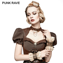 PUNK RAVE Steampunk Vintage Coffee Gloves Lace Women Gothic Fashion Short Wrist Sleeves Clothing Party Fingerless Mittens 1 Pair