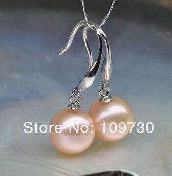 Bijoux de mariée livraison gratuite vente chaude femme AAA 11-12mm rose ronde Naturelle Akoya perle Boucles D'oreilles 925 argent