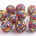 New Colorful 100pcs/lot 20mm 6 colors rainbow plating color Chunky  Resin Rhinestone Ball Beads for Chunky  Necklace
