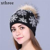 2016 New Real Mink Pom Poms Wool Rabbit Fur Knitted Hat Skullies Winter Hat For Women