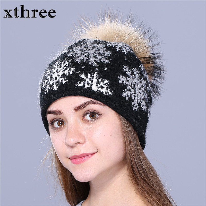 Xthree real mink knitted hat natural pom poms wool rabbit fur hat fashion snow Skullies winter hat for women girls hat beanies import mink hand knitted pineapple mink hat fur hat thermal millinery rabbit hair hat