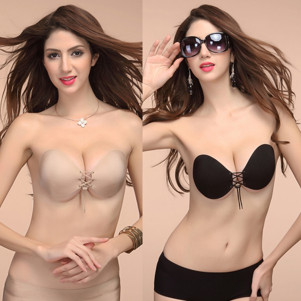 dc4114e2e40d2 Lady Women Silicone Bra Invisible Push Up Stick On Self Adhesive Front  Lacing Bras Strapless Lingerie Cup-in Bras from Underwear   Sleepwears on  ...