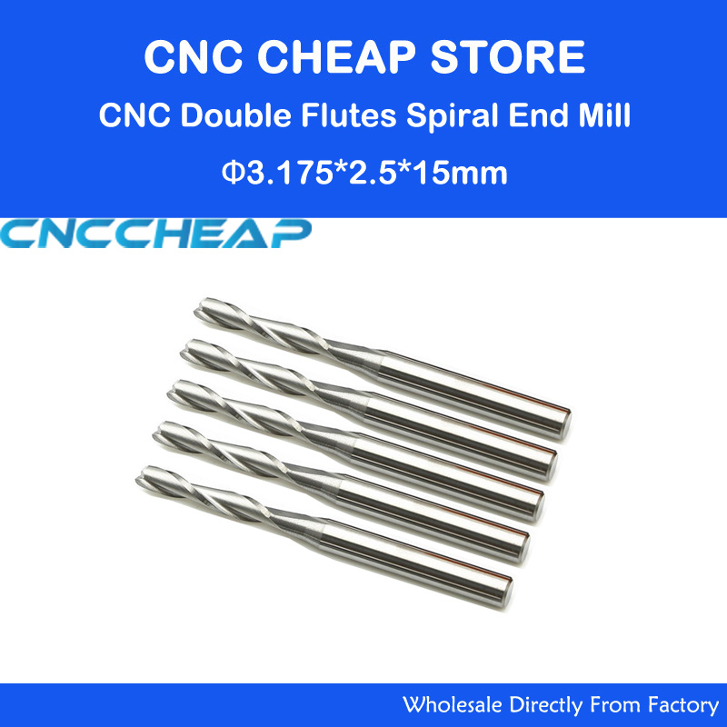 Hot Sale 10pcs/lot 1/8 High Quality Cnc Bits Double Flute Spiral Router Carbide End Mill Cutter Tools 3.175 x 2.5 x 15mm (