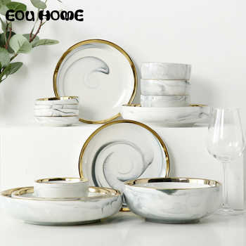 14pce/set Gold Lnlay Porcelain Dinnerware Sets Household Rice Soup Bowl and Dinner Plates Dessert Snack Plate for 4 People Use - DISCOUNT ITEM  35 OFF Home & Garden