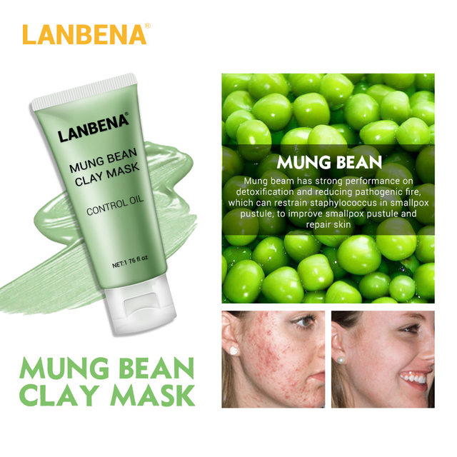 LANBENA Face Mask Skin Care Black Masks Mung Bean Clay Masks Facial Mask Blueberry Rose Bamboo Charcoal Blackhead Remover Mask 4
