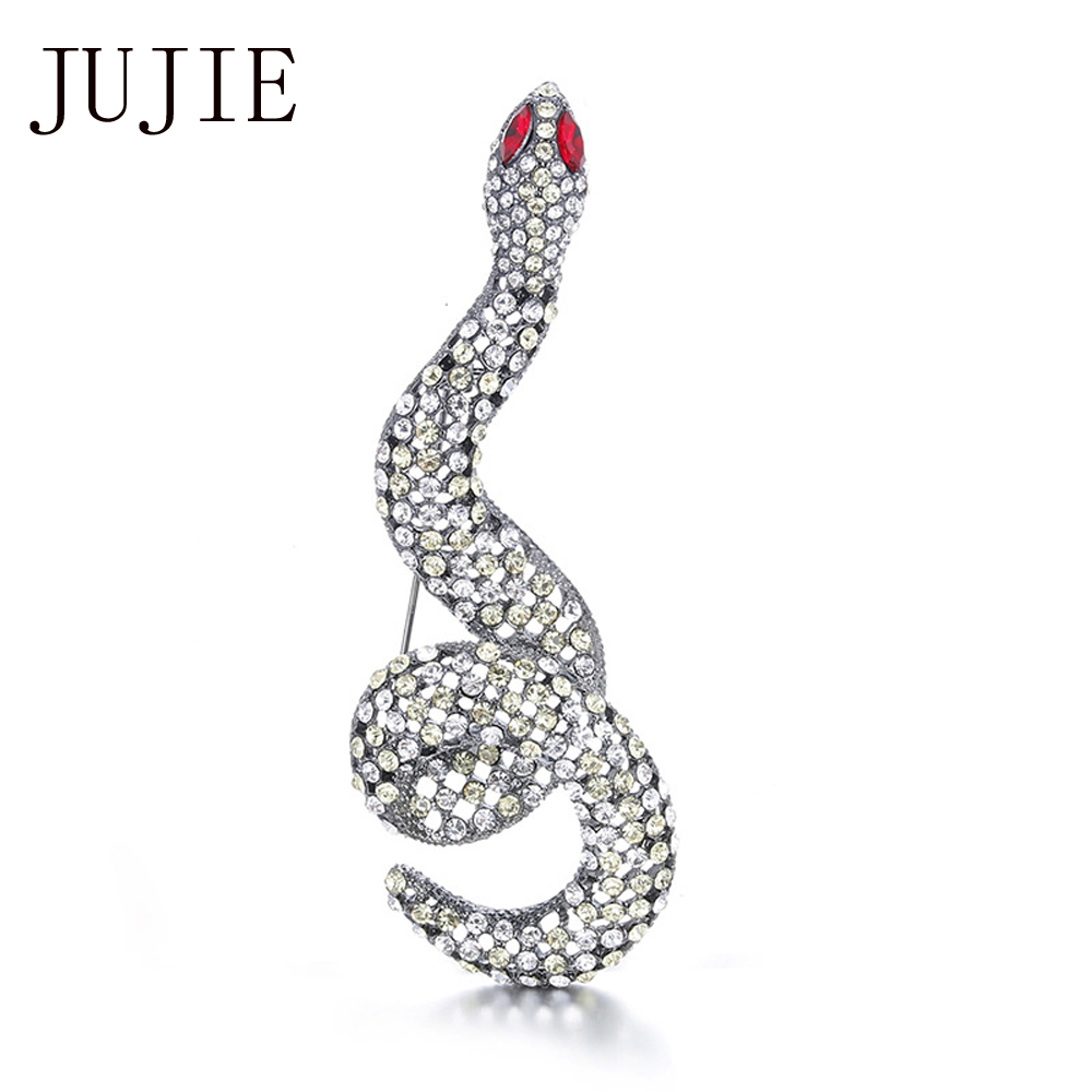 JUJIE Fashion Snake Brooches for Women Rhinestone Python Brooch Pins Hollow Crystal Brooches Изящни бижута за животни