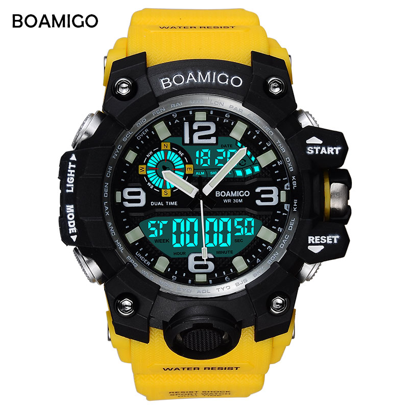 BOAMIGO Brand Men Sports Watches LED Digital Analog Armbåndsur Bade Vandtæt Gul Gummi Gave Ur Relogios Masculino