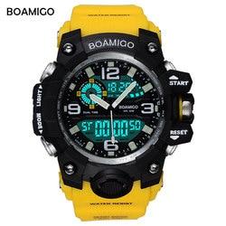 BOAMIGO Brand Men Sports Watches LED <font><b>Digital</b></font> Analog Wrist Watch Swim Waterproof Yellow Rubber Gift <font><b>Clock</b></font> Relogios Masculino