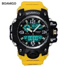 BOAMIGO brand men sport watches dual display LED digital analog wrist watch swim waterproof yellow gift clock Relogios Masculino