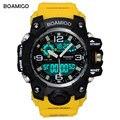 BOAMIGO de los hombres de la marca de relojes deportivos LED Digital analógico reloj de pulsera nadar impermeable de goma amarillo regalo reloj Relogios Masculino