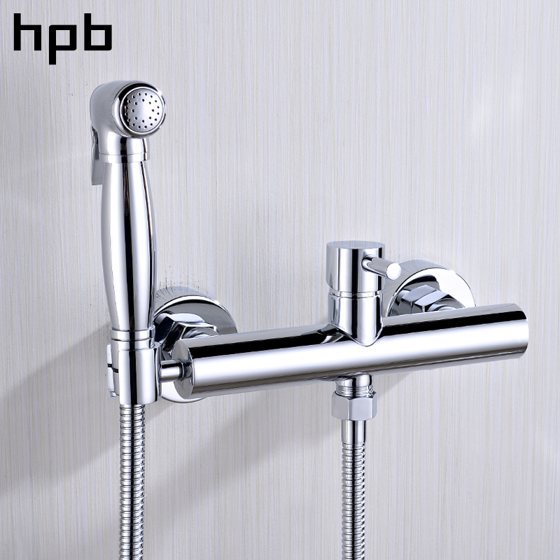 HPB Wall Mounted Single Handle Hot And Cold Water Handheld Bidet Faucet Brass Bathroom Toilet Cleaning Spray Faucet HP7008