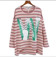 HXYZ Autumn Stripe Pullover Women S T Shirts Letter Print Loose Tees Tops Female Long Sleeve