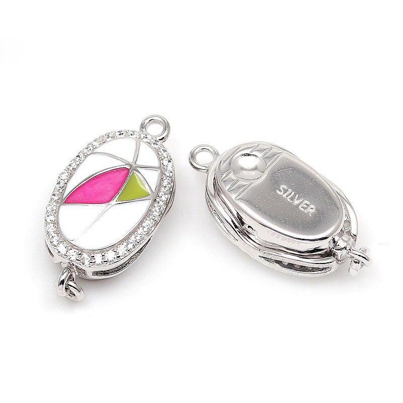 Hot ovale émaillé Zircon Micro Pave 925 en argent Sterling boîte fermoirs pour bricolage perle pierre gemme collier Bracelet bijoux SC-BC218 - 2