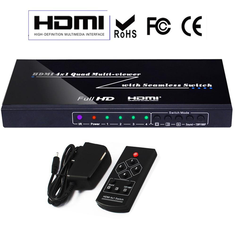 Quad Multi-Viewer 4x1 HDMI Switcher 4 Ports 1080P with Seamless Switcher IR Control Four-Way Image Splitter цены