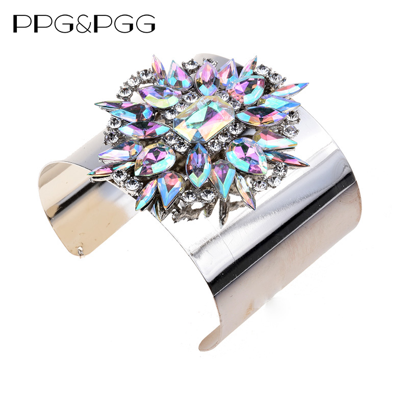 PPG&PGG Luxury Crystal Beads Multicolored Cuff Bangles Bracelets Women Boho Vintage Jewelry Big Brand Wedding Charm Jewelry