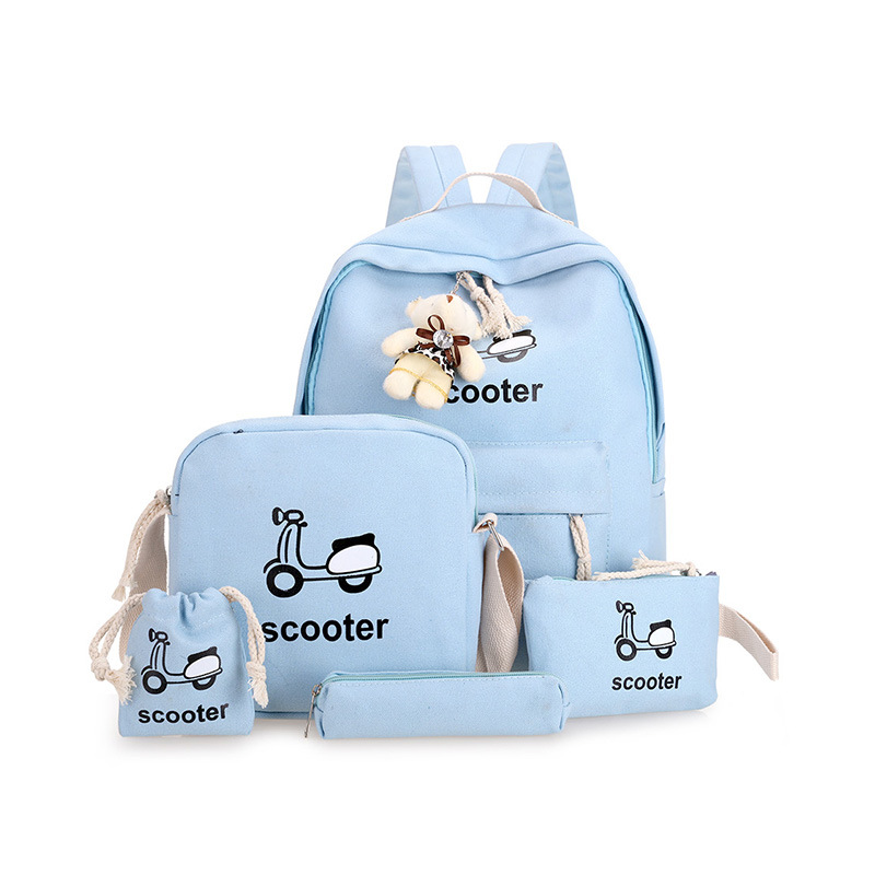 4pcs/set school bags Children cartoon printing schoolbags for girls Sweet lady  backpacks High quality canvas school backpack
