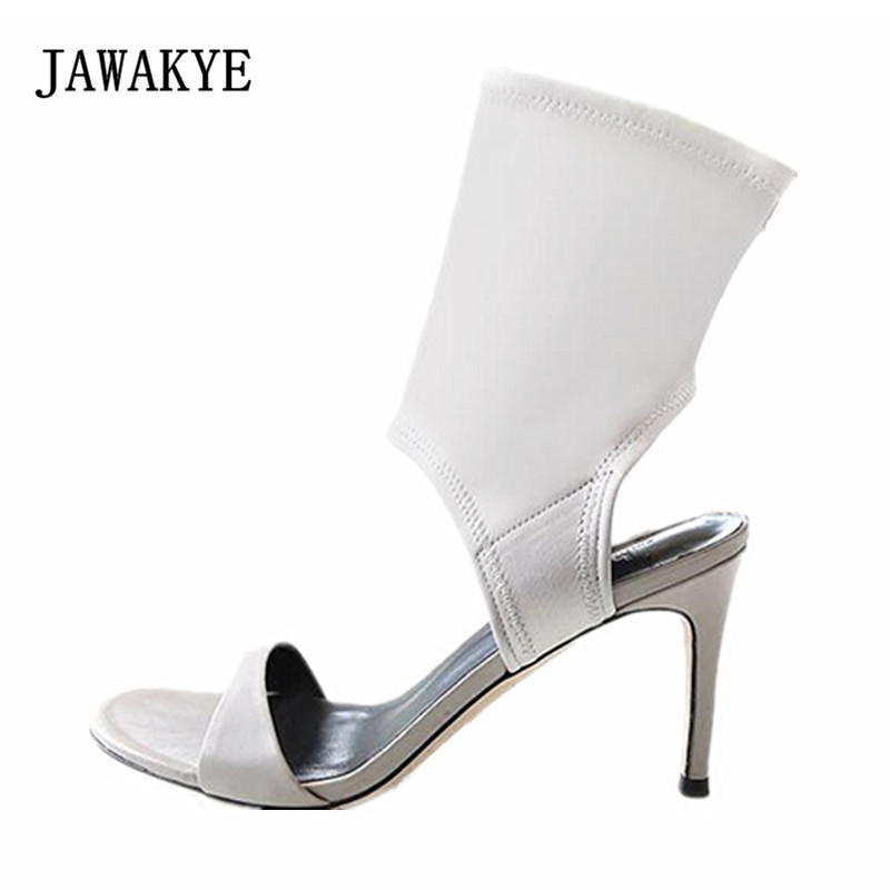 2018 Hollow Design Sock Boots Woman Peep Toe Cut-out High Heel Shoes Woman Fashion Gladiator Sandals trendy women s sandals with hollow out and peep toe design
