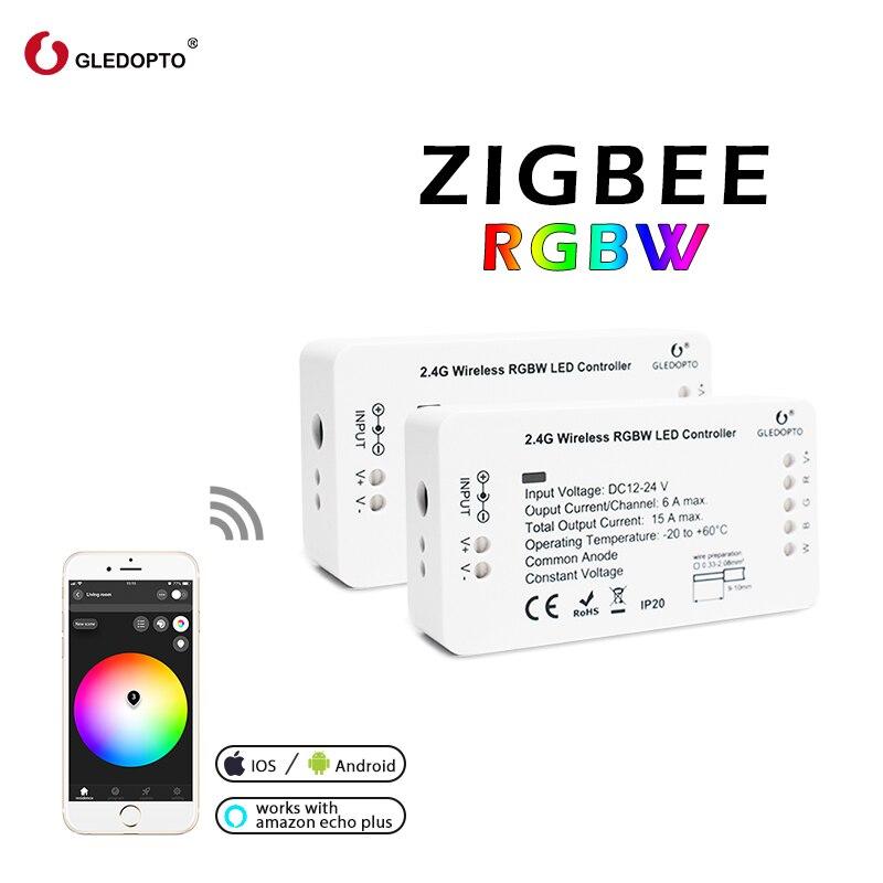 Zigbee Zll enlace inteligente tira de luz rgb/rgbw controlador DC12V/24 V zigbee rgb control de APP compatible con LED eco gledopto led rgb
