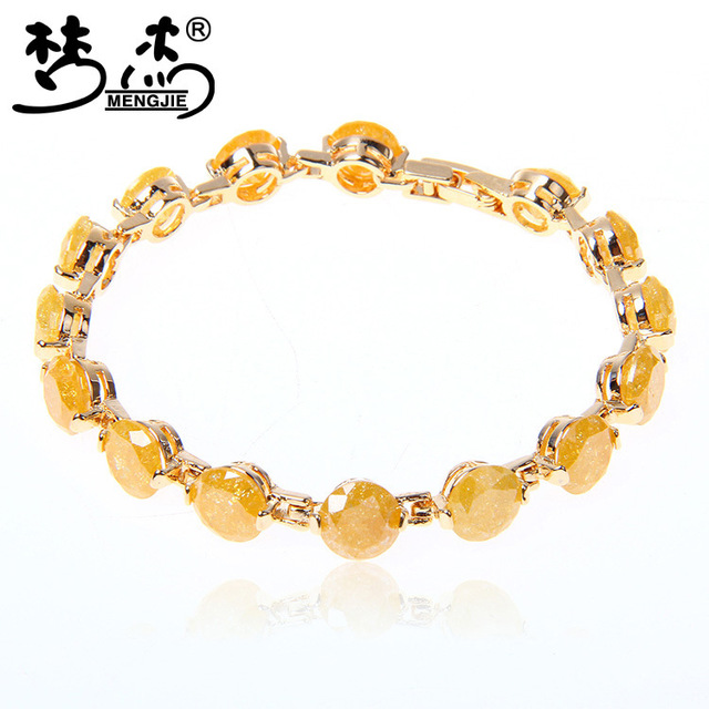 Meng Jie Korean Version Of The New Fashion Ice Zirconia Bracelet 18k Gold Plated Hypoallergenic Hand Jewelry Factory Direct Supp