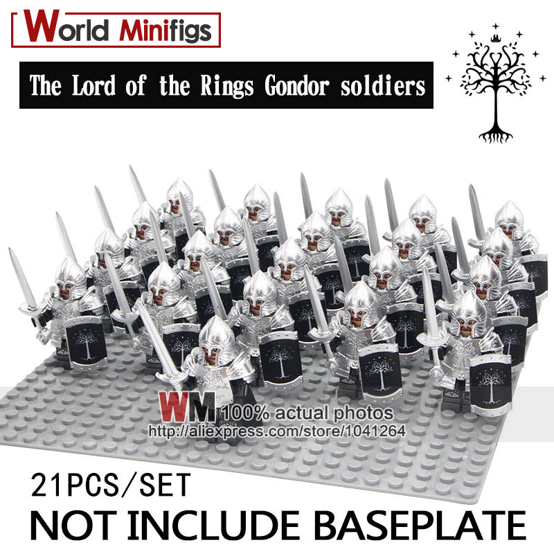 Blocks Legoings 21pcs/lot Infantry Shield Helmet The Lord Of The Rings Silver Gondor Soldiers Spear Sword Building Blocks Children Matching In Colour Model Building