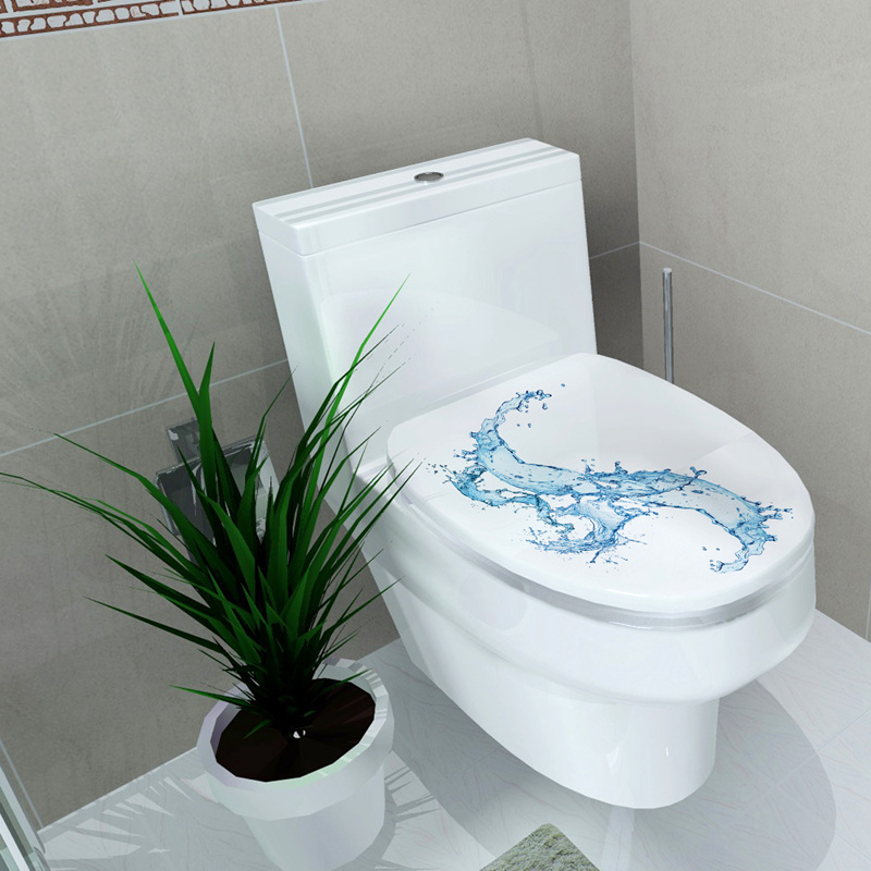 Decoration bathroom picture more detailed picture about 34 46cm sticker wc toilet cover - Deco wc blauw ...