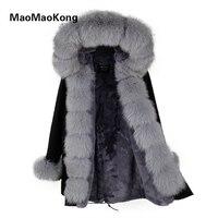 MaoMaoKong Natural Real Fox Fur Jacke Coat Real Fox Fur Collar Cuff Hooded Coat Short Parka