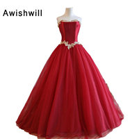 Puffy Ball Gown Red Prom Dress Strapless Appliques Satin Bodice Tulle Lace up Back Fashion Formal Party Dress Debutante Dress