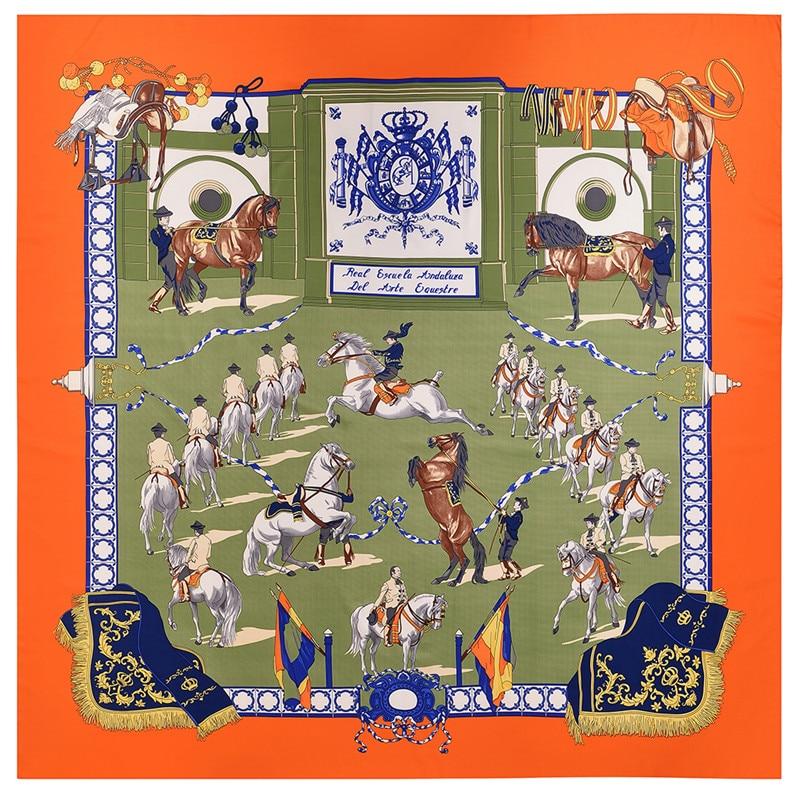 POBING 130CM*130CM Silk Scarf Women Large Shawls Stoles Tassel Palace Horse Print Square Scarves Echarpes Foulards Femme Bandana