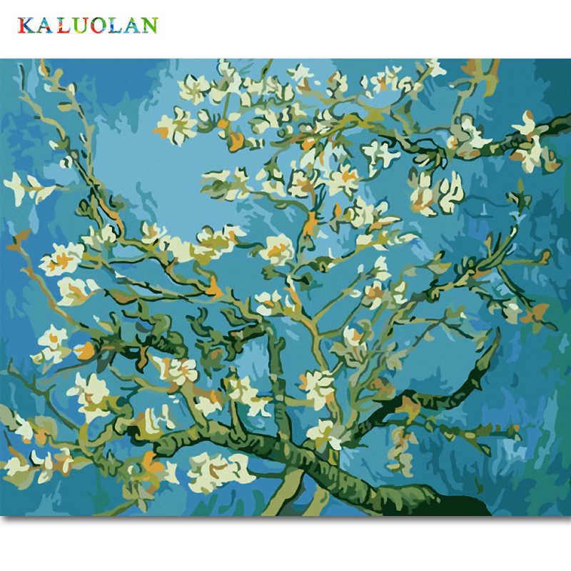 Frameless Painting By Numbers DIY Digital Oil Painting  Canvas Painting Christmas Gift Home Decoration  Van gogh apricot flowers