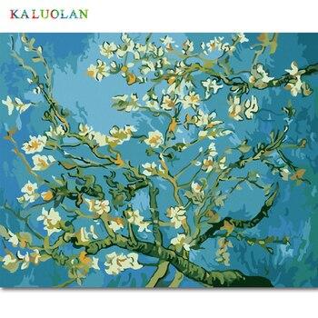 Tanpa Bingkai Lukisan dengan Angka Diy Digital Minyak Lukisan Kanvas Lukisan Natal Hadiah Dekorasi Rumah Van Gogh Aprikot Bunga
