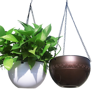 Image 2 - Rattan Round Hanging Basket Self Watering Flowerpot Plastic Resin Plant Holder Container Succulent Plants Home Garden Decoration