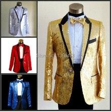 2016New Sequins men's show suits wedding groom groomsman evening party host dress black edge 5 colors ( jacket+pant+girdle+tie)