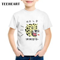 2017 New Fashion Summer T-shirt Children Style Sleeve Boys/Girls T-shirt Anime Hold Fast Leopard Cat Printed Tops Tees TA538