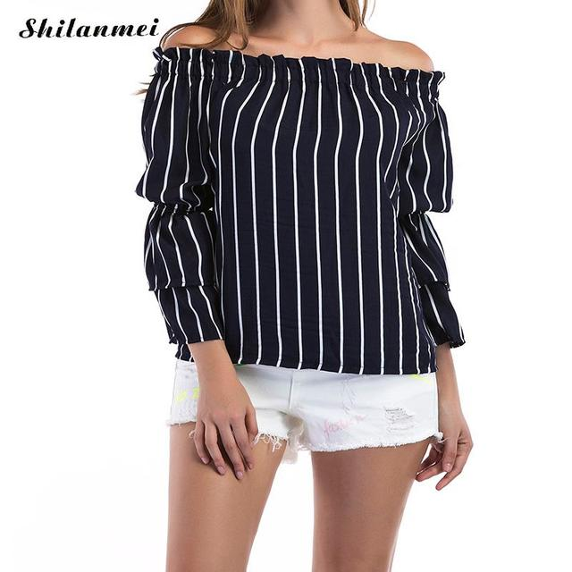 9aa228a734e Women white black Vertical Striped Off The Shoulder Top With Frill Detail  Ladies Autumn Cute Long Sleeve Blouse