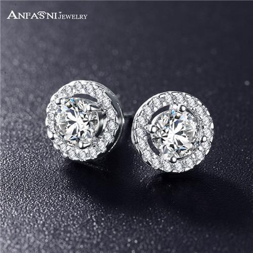 ANFASNI Romantic Jewelry 2016 Stud Earrings For Wedding Elegant Silver Color AAA  Cubic Zirconia Stone Earring CER0002-B