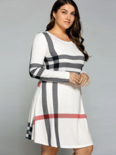 Plus Size XL-5XL Striped Long Sleeve T-Shirt Dress Women T Shirt Midi Dress Patchwork Stripe Pullover Casual