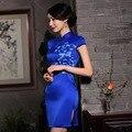 2016 Spring Summer Short sleeve Hand-painted silk Qipao Traditional Chinese Clothing Cheongsams Women ZA670