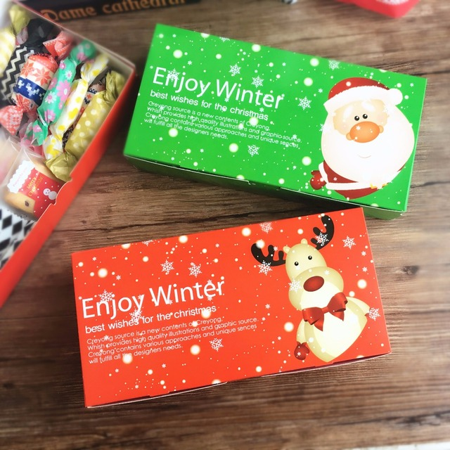 20pcs cute christmas gift box candy packaging box macaron boxes cookie emballage carton paper new year