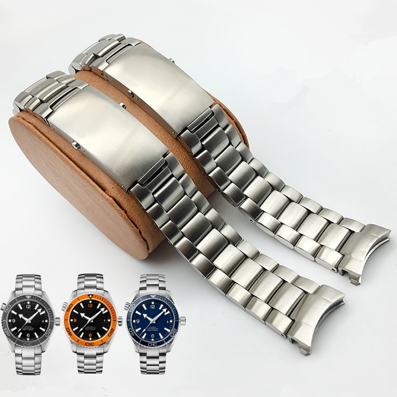 MERJUST AAA Quality 316L 20mm 22mm Silver Stainless steel Watch Bands Strap For omega seamaster speedmaster planet ocean Belt(China)