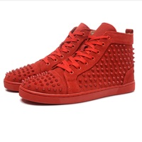2019 High Cut cl Rivets Outdoor Sports Red bottom Shoes For Man Sneakers Leather Loafers Flat Footwear Lace Up