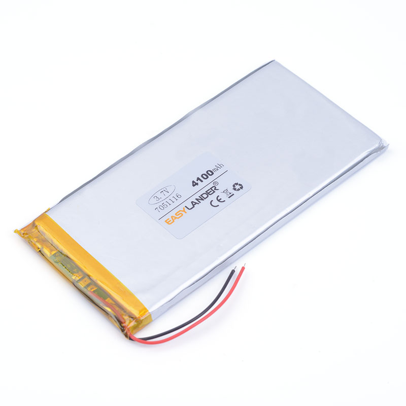 <font><b>3.7V</b></font> <font><b>4100mAh</b></font> Polymer Lithium LiPo Rechargeable <font><b>Battery</b></font> 7051116 For GPS DVD PAD E-book tablet pc laptop power bank phone image