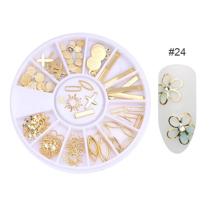 3D металлические украшения для нейл-арта, золотая металлическая цепочка, бисер, линия, много размеров, змеиная кость, сделай сам, украшение для маникюра, нейл-арта, 1 коробка - Цвет: 437911