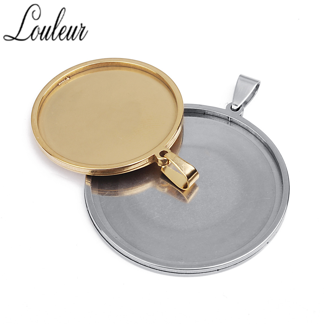 LOULEUR 5pcs/lot 20mm 25mm 30mm 35mm Stainless Steel Cabochon Cameo Base Tray Bezel Blank Fit Cabochon Necklace Jewelry Making