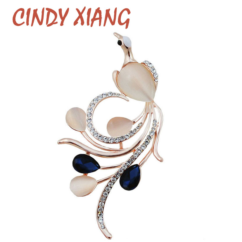 CINDY XIANG Opal and CZ Rhinestone Phoenix Brooches for Women Navy Blue Color Bird Pins and Brooches Fashion Wedding Brooches