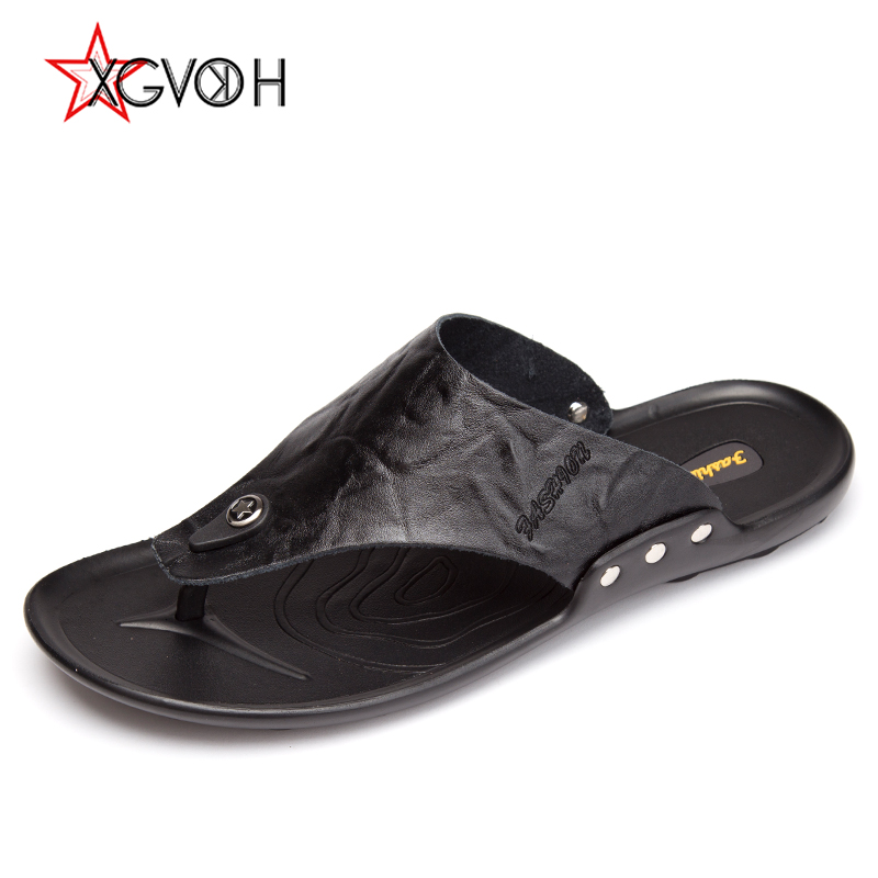 Men Sandals Leather Flip Flops Fashion Breathable Male Summer Shoes Comfortable Men Beach Shoes Beach Slippers mens shoes slippers men beach flip flops breathable fashion flip flops for men summer shoes causal sandals male slippers