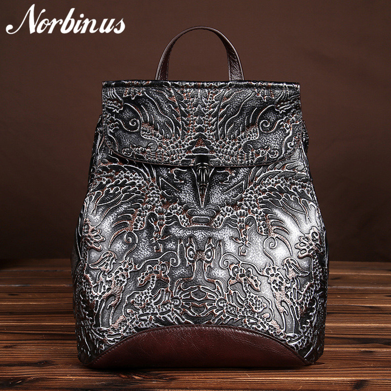 Norbinus Genuine Embossed Leather Women Backpacks Vintage National Style Daypack School Bags for Teenager Girls Travel